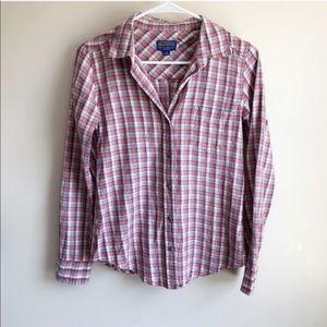 Pendleton Plaid Cotton Button Up Blouse Fall